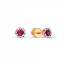 Auksiniai auskarai su Deimantais ir Rubinais