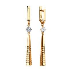 Auksiniai auskarai su Fianitu