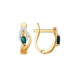 Auksiniai auskarai su Deimantais ir Smaragdu