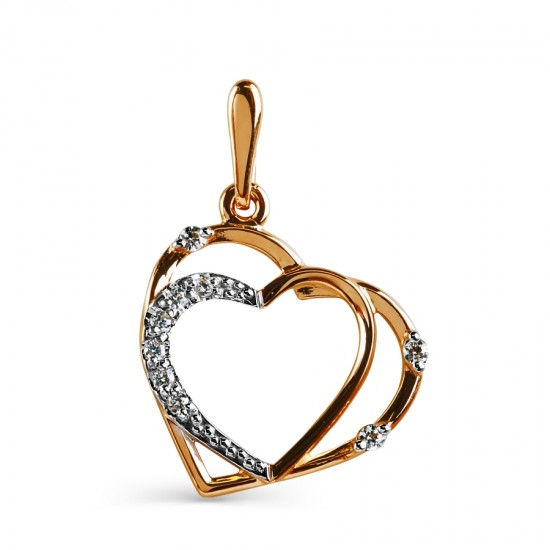 """Auksinis pakabukas """" Dviguba širdis"""""""