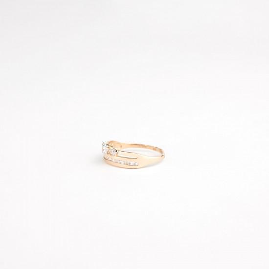 Auksinis žiedas su fianito akutėmis